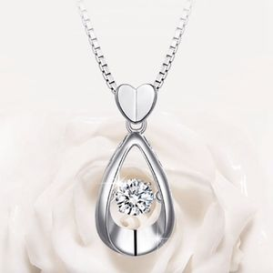 Jewelry - Crystal Teardrop Heart Silver Pendant Necklace